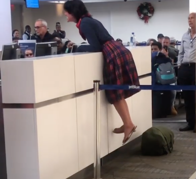 Woman has an outburst after being denied boarding on JetBlue flight. (Photo: Instagram)
