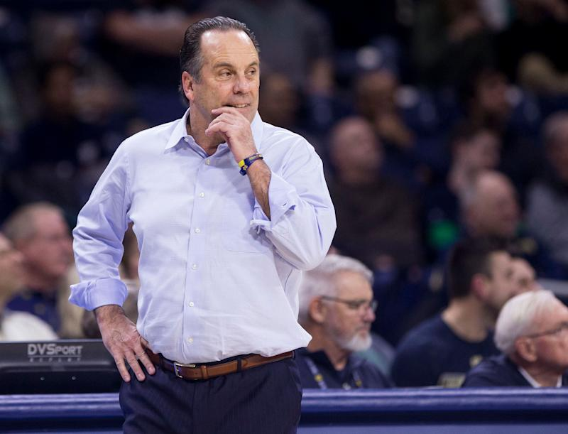 Notre Dame head coach Mike Brey looks on during an NCAA college basketball game against Clemson Wednesday, March 6, 2019, in South Bend, Ind. Clemson won 64-62. (AP Photo/Robert Franklin)