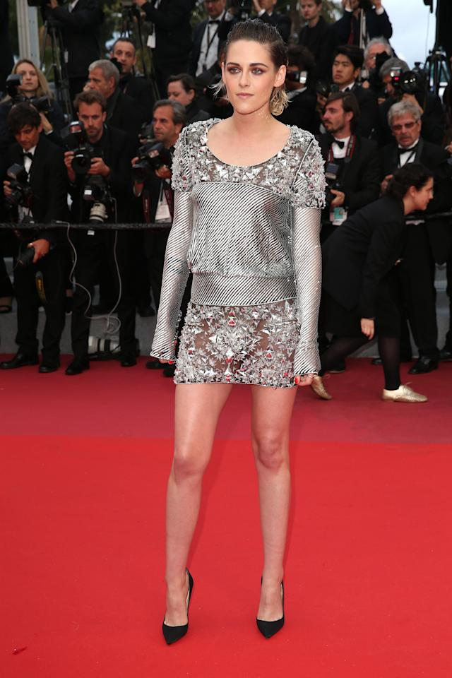 """<p>Stewart continued to wear Chanel while attending the premiere of """"Blackkklansman."""" </p>"""