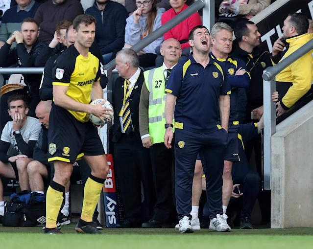 "Soccer Football - Championship - Burton Albion vs Derby County - Pirelli Stadium, Burton-on-Trent, Britain - April 14, 2018 Burton Albion's manager Nigel Clough reacts Action Images/John Clifton EDITORIAL USE ONLY. No use with unauthorized audio, video, data, fixture lists, club/league logos or ""live"" services. Online in-match use limited to 75 images, no video emulation. No use in betting, games or single club/league/player publications. Please contact your account representative for further details."