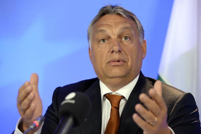 Hungary's Prime Minister Viktor Orban speaks during a press conference at the European Union (EU) Council building in Brussels, on September 3, 2015 (AFP Photo/Thierry Charlier)