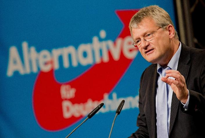 Alternative for Germany (AfD) chairman Joerg Meuthen delivers a speech at the party's 2015 congress in Hannover, central Germany (AFP Photo/Julian Stratenschulte)