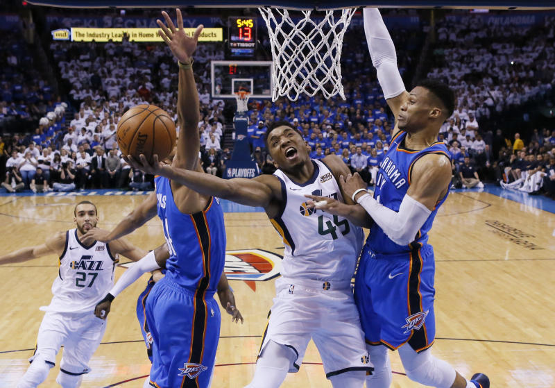 Donovan Mitchell and the Jazz have a chance to bounce back from their Game 5 collapse to finish off the Thunder at home. (AP)