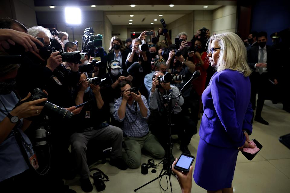 Republican Representative from Wyoming Liz Cheney speaks after being voted out of her House GOP Conference Chair position (Getty Images)
