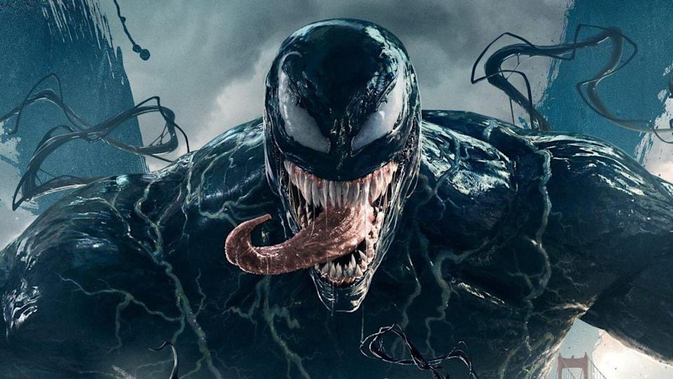 "Tom Hardy's unhinged superhero movie got Sony's not-quite-Spidey universe off to a bang back in 2018, achieving $856m (£630m) worldwide despite vastly <a href=""https://uk.movies.yahoo.com/ruben-fleischer-still-cant-figure-out-why-critics-hated-venom-195407622.html"" data-ylk=""slk:negative critical reviews;outcm:mb_qualified_link;_E:mb_qualified_link;ct:story;"" class=""link rapid-noclick-resp yahoo-link"">negative critical reviews</a>. <a href=""https://uk.movies.yahoo.com/andy-serkis-to-direct-tom-hardy-in-venom-2-074228139.html"" data-ylk=""slk:Andy Serkis is behind the camera;outcm:mb_qualified_link;_E:mb_qualified_link;ct:story;"" class=""link rapid-noclick-resp yahoo-link"">Andy Serkis is behind the camera</a> for this sequel, which will provide the pay-off to Woody Harrelson's introduction in the first movie's post-credits scene — playing fan favourite character Carnage. Symbiotes everywhere means heads will be bitten off. (Credit: Sony)"