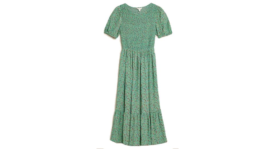 Floral Puff Sleeve Shirred Midi Dress