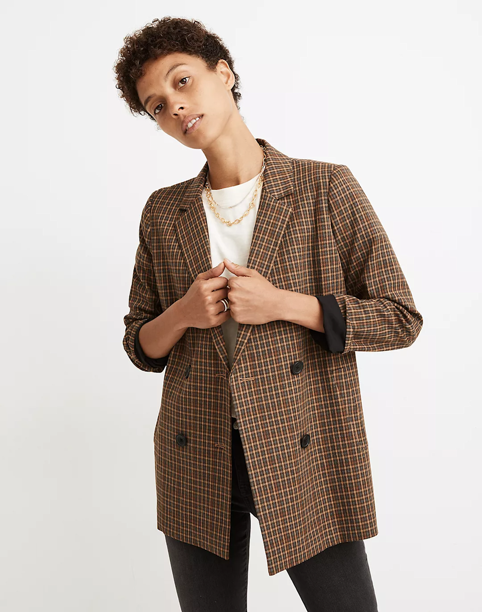 "<br><br><strong>Madewell</strong> Caldwell Double-Breasted Blazer, $, available at <a href=""https://go.skimresources.com/?id=30283X879131&url=https%3A%2F%2Fwww.madewell.com%2Fcaldwell-double-breasted-blazer-in-mandell-plaid-MA271.html"" rel=""nofollow noopener"" target=""_blank"" data-ylk=""slk:Madewell"" class=""link rapid-noclick-resp"">Madewell</a>"