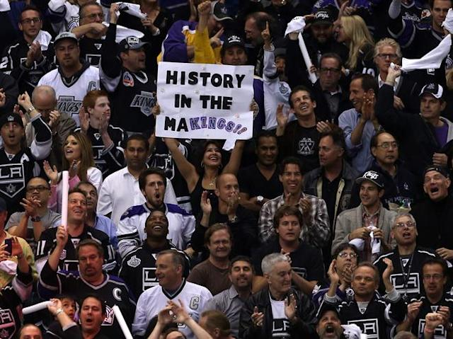 "LOS ANGELES, CA - JUNE 11: A Los Angeles Kings fan holds up a sign ""History in the MaKings!!"" in Game Six of the 2012 Stanley Cup Final at Staples Center on June 11, 2012 in Los Angeles, California. (Photo by Bruce Bennett/Getty Images)"