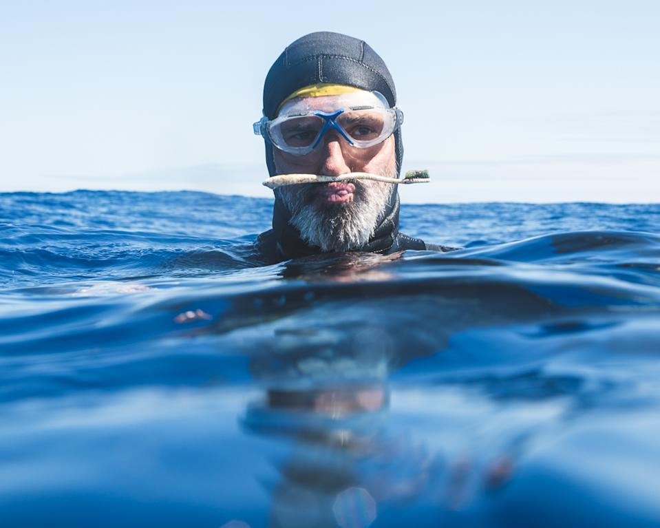 Ben Lecomte finds a toothbrush while swimming. Source: @Osleston