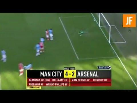 <p>In a game that featured six goals, it will ever be remembered as the Emmanuel Adebayor show.</p> <p><br> Manuel Almunia's own goal was the only goal of the first-half.</p> <p><br> The second-half saw all the action. Robin van Persie equalised for the Gunners, before Craig Bellamy put his side back in the lead in the 74th minute. </p> <p><br> Then came the moment City and Arsenal fans will never forget. Adebayor, who had joined City from Arsenal during the previous summer, headed home brilliantly from Shaun Wright-Phillips' cross. He then proceeded to run the length of the pitch to celebrate in-front of the Arsenal fans.</p> <p><br> Late goals from Wright-Phillips and Tomas Rosicky did nothing to take the spotlight away from Adebayor.</p>