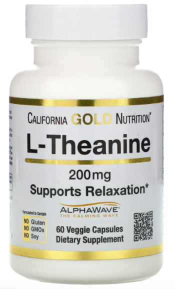 California Gold Nutrition, L-Theanine, supports relaxation, calm focus, 200mg, 60 veggie capsules, S$13.96. PHOTO: iHerb