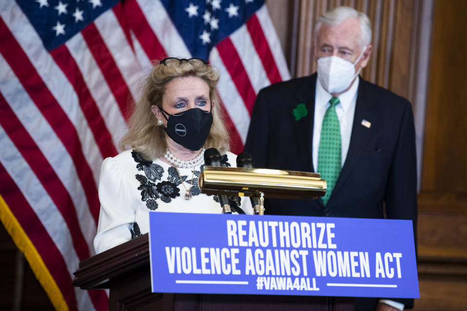 UNITED STATES - MARCH 17: Rep. Debbie Dingell, D-Mich., and House Majority Leader Steny Hoyer, D-Md., conduct a news conference in the Capitol on the reauthorization of the Violence Against Women Act on Wednesday, March 17, 2021. (Photo By Tom Williams/CQ-Roll Call, Inc via Getty Images)