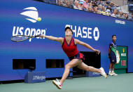 Elina Svitolina, of Ukraine, chases down a shot from Leylah Fernandez, of Canada, during the quarterfinals of the US Open tennis championships, Tuesday, Sept. 7, 2021, in New York. (AP Photo/Elise Amendola)