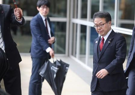 Japan's Minister of Economy, Trade and Industry Hiroshige Seko leaves the European Commission headquarters after a meeting on steel overcapacity, in Brussels
