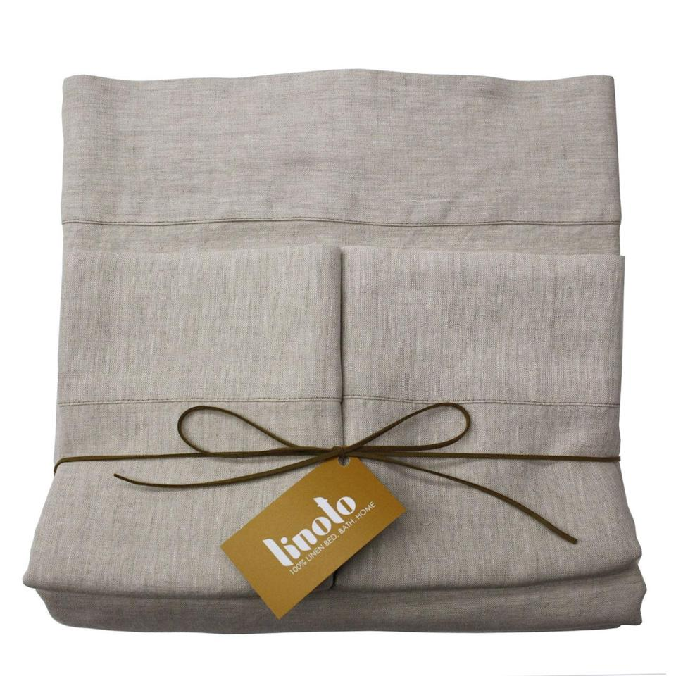 """If you want to buy something guaranteed to be used, look into some supremely comfortable bedsheets from Linoto. Its linen is sourced from the finest mills in Italy and Belgium and the set comes pre-washed for human burrito comfort levels. $269, Linoto. <a href=""""https://www.linoto.com/100-linen-sheet-sets/"""" rel=""""nofollow noopener"""" target=""""_blank"""" data-ylk=""""slk:Get it now!"""" class=""""link rapid-noclick-resp"""">Get it now!</a>"""
