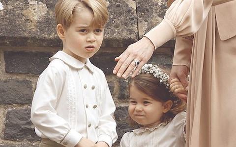 Prince George and his sister Charlotte as pageboy and flower girl at Pippa's wedding - Credit: Max Mumby/Getty