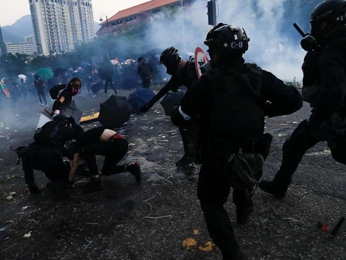 Riot police clash with anti-government protesters during a demonstration in Sha Tin district, on China's National Day: REUTERS