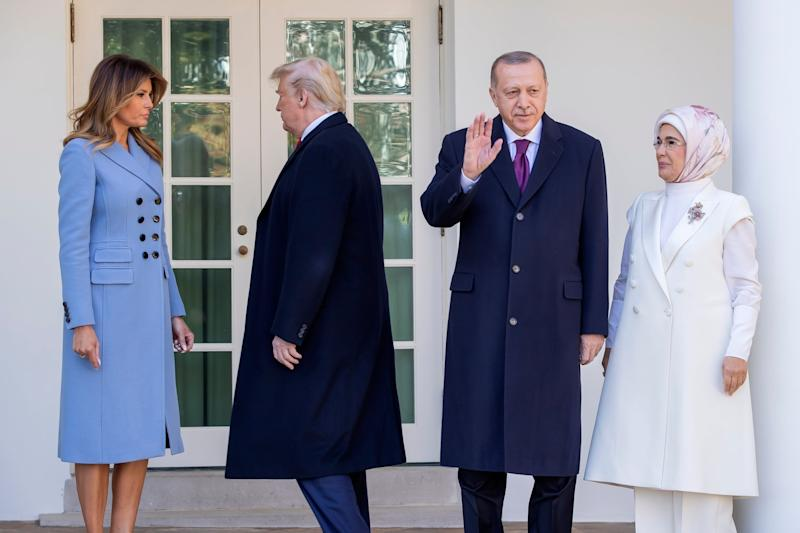 Donald Trump and first lady Melania Trump welcome Turkish president Recep Tayyip Erdogan and his wife Emine Erdogan to the White House: EPA