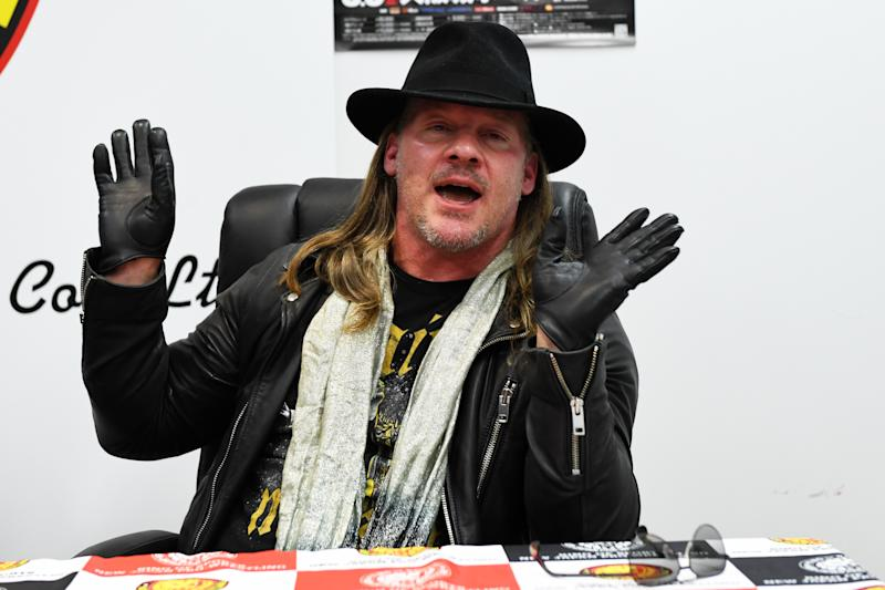 TOKYO, JAPAN - JUNE 08: Chris Jericho speaks during the Dominion 6.9 In Osaka-Jo Hall press conference of NJPW on June 08, 2019 in Tokyo, Japan. (Photo by Etsuo Hara/Getty Images)