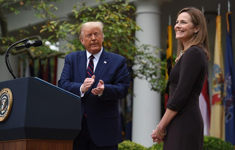 President Donald Trump announces Judge Amy Coney Barrett as his U.S. Supreme Court nominee on Sept. 18 in Washington.