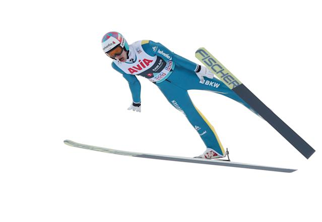 FIS Ski Jumping World Cup - Men's HS134 - Oslo, Norway - March 10, 2018. Gregor Deschwanden of Switzerland competes. NTB Scanpix/Terje Bendiksby via REUTERS ATTENTION EDITORS - THIS IMAGE WAS PROVIDED BY A THIRD PARTY. NORWAY OUT. NO COMMERCIAL OR EDITORIAL SALES IN NORWAY.