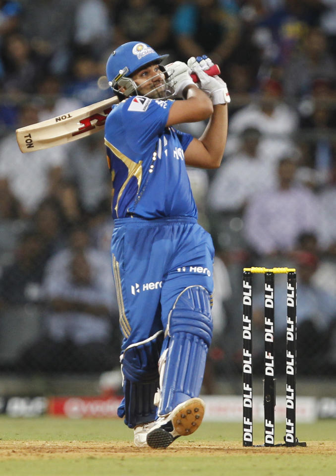 MUMBAI, INDIA - APRIL 29: Mumbai Indians batsman Rohit Sharma plays a shot during IPL 5 T20 cricket match played between Mumbai Indians And Deccan Chargers at Wankhede stadium on April 29, 2012 in Mumbai, India. Chasing 100 runs Mumbai Indians won by 5 wickets with 11 balls to spare. (Photo by Kunal Patil / Hindustan Times via Getty Images)
