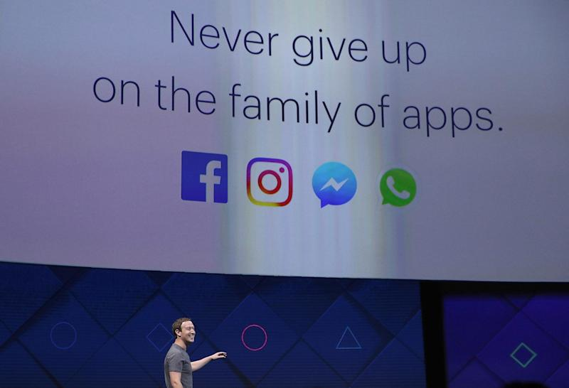 Facebook CEO Mark Zuckerberg delivers the keynote address at Facebook's F8 Developer Conference on April 18, 2017: Getty Images