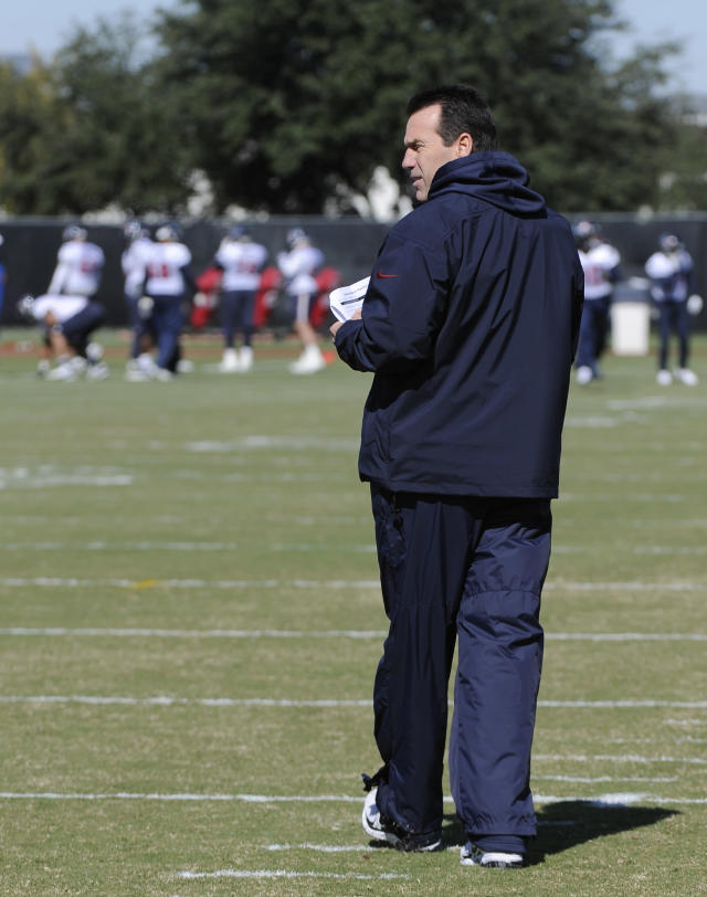 Houston Texans head coach Gary Kubiak takes the football field Wednesday, Nov. 13, 2013, in Houston for his first practice since suffering a mini-stroke during a game nearly two weeks ago. The Texans are hoping to break a franchise-long seven-game losing streak when they host Oakland Sunday. (AP Photo/Pat Sullivan)