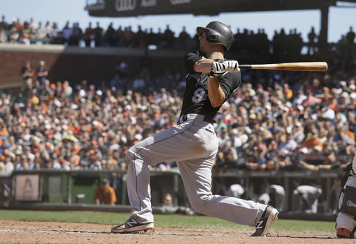 "This D.J. LeMahieu blast Thursday might have ended the <a class=""link rapid-noclick-resp"" href=""/mlb/players/9231/"" data-ylk=""slk:Sam Dyson"">Sam Dyson</a> closing experiment in San Francisco (AP Photo/Eric Risberg)"