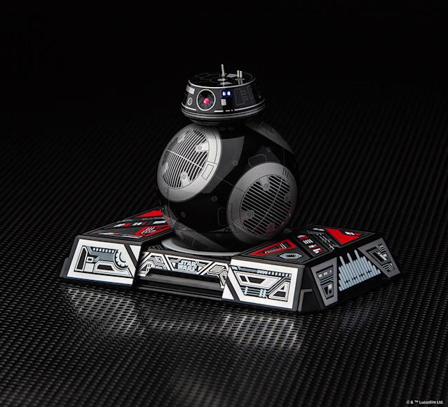 "<p>""This is NOT the droid you're looking for… it's the droid that's looking for you. BB-9E is a menacing astromech droid of the First Order. Control it with your smart device, watch <em>Star Wars </em>films together, explore holographic simulations, and more."" Includes a droid trainer for AR missions. (Photo: Sphero) </p>"