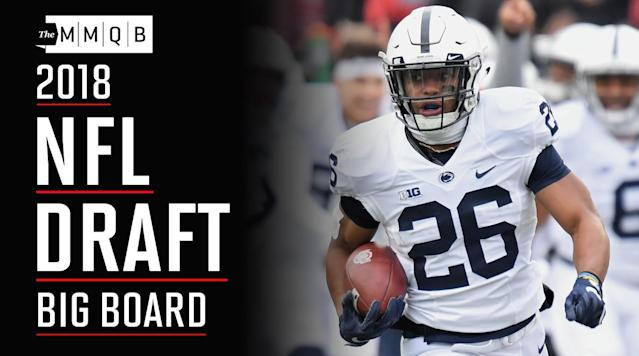 "<p><b>1. Saquon Barkley, RB, Penn State</b><br>Evaluators told The MMQB <a href=""https://www.si.com/nfl/2017/09/26/saquon-barkley-penn-state-2018-nfl-draft"" rel=""nofollow noopener"" target=""_blank"" data-ylk=""slk:Barkley is a better prospect than Ezekiel Elliott was"" class=""link rapid-noclick-resp"">Barkley is a better prospect than Ezekiel Elliott was</a> two years ago. Barkley is a true workhorse back who would be a first-round prospect solely on his ability as a runner. Add in his passing-game skills—think Le'Veon Bell, a big back who has the ability to create separation when lined up as a receiver—and he's custom-built for the modern NFL.</p><p><b>2. Quenton Nelson, G, Notre Dame</b><br>The complete package at guard—one evaluator told our Albert Breer that <a href=""https://www.si.com/nfl/2017/12/27/2018-nfl-mock-draft-notes-marcus-davenport-quenton-nelson-tremaine-edmunds-derwin-james"" rel=""nofollow noopener"" target=""_blank"" data-ylk=""slk:Nelson is a better prospect than Zack Martin was coming out of Notre Dame"" class=""link rapid-noclick-resp"">Nelson is a better prospect than Zack Martin was coming out of Notre Dame</a>. Nelson is a violent mauler with brute strength and a nasty disposition, but blends it with nimble athleticism that allows him to thrive in space and as a pass protector.</p><p><b>3. Minkah Fitzpatrick, S, Alabama</b><br>As more NFL offenses turn to versatile, movable chess piece types to gain the upper hand, Fitzpatrick provides the antidote. He's a rangy, instinctive in centerfield, or can come down and match up with flex tight ends and big slot receivers in man coverage. He excels as a blitzer, attacks as a run defender, and has the character and football IQ immediately become a leader in the locker room.</p><p><b>4. Bradley Chubb, EDGE, N.C. State</b><br>He can't match Myles Garrett from an athleticism standpoint, but Chubb combines impressive get-off, an advanced approach to the pass rush and a relentless motor. A strip-sack savant, he's also athletic enough to make the move to outside linebacker in a 3-4 defense and hold up in space.</p><p><b>5. Tremaine Edmunds, Stack LB, Virginia Tech</b><br>Edmunds is still something of a work in progress, but with a rare combination of size and athleticism he can be molded into just about anything a coaching staff wants him to be. He has the range to go sideline-to-sideline as a traditional middle linebacker, and the length and fluid athleticism to match up with tight ends in coverage. And despite it not always being in his job description, he's an explosive edge rusher with star potential if he's asked to play the edge full-time.</p><p>?<b>6. Sam Darnold, QB, USC</b><br>He had some growing pains in his first full year as a starter—he saw a lot of new looks from opposing defenses, and took some time to adjust. That, combined with mechanical corrections needed for a loopy delivery, could result in a redshirt year in 2018. But few doubt Darnold's ability to learn at the next level, and his ability to make plays late in the down give him franchise QB potential.</p><p><b>7. Roquan Smith, Stack LB, Georgia</b><br>He's undersized, but Smith is also fast and instinctive (which allows him to play even faster). He'll need to be covered up by a big defensive line, but brings star potential as a 4-3 WILL or 3-4 ILB.</p><p><b>8. Derwin James, S, Florida State</b><br>He was a relative disappointment after bursting onto the scene as a true freshman in 2015, but that might have had something to do with some tentativeness in his first year back from a torn meniscus* that cost him most of the 2016 season. The Seminoles asked James to play near the line of scrimmage more often last season, and he's not a guy you'd line up in centerfield with regularity. But his versatility—he's essentially another linebacker in the box, or can lock down tight ends and running backs in man coverage—make him the kind of defensive chess piece to counter what most NFL offenses are currently doing with hybrid pieces.</p><p><em>*—An earlier version incorrectly referred to his 2016 injury as a torn ACL.</em></p><p><b>9. Josh Rosen, QB, UCLA</b><br>A pure pocket passer with advanced feel in the pocket and impeccable ball placement, Rosen is probably the most pro-ready of the QBs in this year's class. He won't make plays late in the down like Sam Darnold does though, and durability is a question mark. He also has the kind of beat-of-a-different-drum personality (hit the <a href=""https://youtu.be/TBAhx8Uadfg"" rel=""nofollow noopener"" target=""_blank"" data-ylk=""slk:Independent Thought Alarm"" class=""link rapid-noclick-resp"">Independent Thought Alarm</a>) that will surely cause some evaluators to bristle.</p><p><b>10. Denzel Ward, CB, Ohio State</b><br>Ward's competitiveness and leaping ability allow him to play bigger than his size (5' 10"", 190 lbs.), and his loose hips and quick feet allow him to mirror quicker receivers underneath. He'll likely always have issues against big No. 1 receivers, but can play the slot or outside and thrive.</p><p><b>11. Calvin Ridley, WR, Alabama</b><br>His numbers were suppressed while playing with a young, run-first quarterback in Jalen Hurts, and Ridley lacks the ideal size of a No. 1 receiver (6' 1"", 190 lbs.), but everything else is there. His acceleration and long speed make him a dangerous downfield threat, and he has the fluid athleticism, short-area quickness and overall feel for route running to consistently create space working underneath. He's the best in a relatively weak WR class.</p><p><b>12. Marcus Davenport, EDGE, UTSA</b><br>Built like a power forward (6' 5"", 255 lbs.), Davenport dominated hapless Conference-USA opponents with a blend of size and explosiveness rarely seen outside the Power-5 conferences. After getting by purely on athletic gifts during his college career, Davenport has some work to do before he'll be able to dominate similarly against NFL-caliber athletes. But his ceiling is enormous, and he's even more intriguing in a draft that's relatively weak on edge players (and in a year when there are few to be had on the free-agent market).</p><p><b>13. Da'Ron Payne, DT, Alabama</b><br>His performance in last year's College Football Playoffs (showing talent on both sides of the ball against Clemson, then dominating against Georgia in the title game) solidified Payne's spot a top this year's group of defensive tackles. His brute strength and athleticism will make him a dominant run defender, though he's still a work-in-progress as a pass rusher.</p><p><b>14. Connor Williams, OT, Texas</b><br>He was on a trajectory to be a top-10 and maybe even top-5 overall prospect until an up-and-down junior year. He struggled through a knee injury, which might have had something to do with it. If he returns to form, he has prototypical size (6' 6"", 320 lbs.) and athleticism for a left tackle, with some nastiness as a run-blocker as well.</p><p><b>15. Vita Vea, DT, Washington</b><br>The measurables didn't always add up to dominance (though they <i>sometimes</i> did), but Vea has a Dontari Poe-like blend of size (6' 4"", 345 lbs.) and movement skill that rarely come into the league.</p><p><b>16. Orlando Brown, OT, Oklahoma</b><br>The son of the late Orlando Brown, the long-time Browns and Ravens tackle, the younger Brown brings a similar blend of size (6' 8"", 350 lbs.)—both length and width—and nastiness. He'll be labeled as a ""right tackle"" (though <a href=""https://www.si.com/mmqb/2017/05/31/nfl-left-tackles-michael-lewis-blindside-right-tackles-left-defensive-ends"" rel=""nofollow noopener"" target=""_blank"" data-ylk=""slk:the designation between left and right tackle doesn't really matter anymore"" class=""link rapid-noclick-resp"">the designation between left and right tackle doesn't really matter anymore</a>) due to his mediocre movement skills, but his size and strength are enough to make up for it, especially in an offense that wants to set a tone physically.</p><p><b>17. Rashaan Evans, Stack LB, Alabama</b><br>Evans should join C.J. Mosley, Dont'a Hightower, Reuben Foster and Rolando McClain as plug-and-play first-rounder linebackers out of Nick Saban's program. Evans is fast and physical, though his value on passing downs is likely to come on the blitz more than in coverage.</p><p><b>18. Baker Mayfield, QB, Oklahoma</b><br>There's a reason few 6-foot quarterbacks make it in the NFL, and the fact that he's coming from an Air Raid offense is a second strike against Mayfield. Still, he was adept at finding throwing lanes at the collegiate level. He's an anticipatory passer, which will make up for what's ordinary arm strength for an NFL starter. An offensive coordinator might have to get a bit creative (and you wonder how he'll handle a more aggressive media throng at the NFL level if <a href=""https://www.si.com/extra-mustard/2018/01/02/baker-mayfield-troll-oklahoma-georgia-hot-clicks"" rel=""nofollow noopener"" target=""_blank"" data-ylk=""slk:the likes of Lee Corso can get under his skin"" class=""link rapid-noclick-resp"">the likes of Lee Corso can get under his skin</a>), but with a strong interior line in a timing-based offense, there's no reason Mayfield can't have success in the NFL. (By the way, we have Robert Klemko <a href=""https://www.si.com/column/Baker+Mayfield:+The+Scouting+Report"" rel=""nofollow noopener"" target=""_blank"" data-ylk=""slk:tailing Mayfield throughout draft season"" class=""link rapid-noclick-resp"">tailing Mayfield throughout draft season</a>.)</p><p><b>19. Harold Landry, EDGE, Boston College</b><br>He's a bit undersized (6' 2"", 250 lbs.), but Landry is a fast, flexible edge burner. He returned to school and had an underwhelming, injury-filled senior year though, and needs to add to his repertoire of moves. But the speed and bendability can't be taught.</p><p><b>20. Josh Allen, QB, Wyoming</b><br>Think of him as a younger, extreme version of Cam Newton—a pure power thrower who can attempt passes others can't (and often from absurd platforms), but accuracy that's streaky on good days and unacceptable on bad days. (Allen also has value on designed runs, though probably not to the same extent Newton does.) Accuracy problems are difficult to fix, but not impossible; his next position coach can start with often atrocious footwork, and comfort with a more talented group of pass-catchers should lead to more confidence. He's every bit the boom-or-bust prospect everyone thinks he is.</p><p><b>21. Mike McGlinchey, OT, Notre Dame</b><br>With a nice blend of length (6' 8"", 315 lbs.) and athleticism, as well as experience on both sides of the line, McGlinchey should become a quality starter. He doesn't overwhelm opponents and his ceiling doesn't match the other top tackles in this class, but he's technically polished with a chance to start immediately, probably on the right side.</p><p><b>22. Josh Jackson, CB, Iowa</b><br>A breakout player in 2017, Jackson is long (6' 1"", 195 lbs.) and showed elite ball skills last year. The question is long speed, a question that might be answered in part by his performance at the combine.</p><p><b>23. Mike Hughes, CB, UCF</b><br>He left North Carolina after his freshman season after earning a suspension for violating team rules, and Hughes spent a year in junior college before emerging as a star at UCF. He's quick, fast and competitive, playing with a physical edge despite being on the small side (5' 11"", 190 lbs.). He can be overaggressive and needs to become more consistent, but the potential to become a No. 1 corner is there. He also offers value as a punt returner.</p><p><b>24. James Daniels, C, Iowa</b><br>One of the most athletic pivots in college football, Daniels is on the small side but offers outstanding range, in the Jason Kelce/Maurikce Pouncey mold. He anchors well for his size, and it a team believes he can hold up against NFL nose tackles Daniels will come off the board in Round 1.</p><p><b>25. Ronnie Harrison, S, Alabama</b><br>A big, physical safety, Harrison can play in the box but also has the athleticism and speed to roam in centerfield. He has some limitations if asked to play man coverage, but could carve out a role similar to that of former Alabama safety Landon Collins.</p><p><b>26. Taven Bryan, DL, Florida</b><br>Long and athletic, Bryan is a raw but shows flashes of becoming a disruptive pass rusher. He explodes off the line and plays with a relentless motor, a fluid mover who can bend around a blocker and make plays in the backfield. He's a bit lanky (6' 4"", 290 lbs.) for the interior—he might ultimately be molded into a five-technique.</p><p><b>27. Derrius Guice, RB, LSU</b><br>A violent, thrashing runner who thrives running through contact, Guice has the talent to make an immediate impact as an early-down bellcow back. The questions are what kind of contributions he'll make as a receiver, and whether or not he can stay healthy considering his style after battling a nagging ankle injury last season.</p><p><b>28. Isaiah Wynn, G, Georgia</b><br>An undersized (6' 2"", 300 lbs.) collegiate tackle who will make the transition to guard, Wynn offers excellent athleticism on the interior. He'll be able to handle himself as a pass protector, and might thrive as a run-blocker in a scheme heavy on outside-zone.</p><p><b>29. Isaiah Oliver, CB, Colorado</b><br>Probably the best corner this draft class has to offer from a size/speed standpoint, Oliver has the potential to become a lockdown cover man. It will be a matter of cleaning up his footwork under an NFL position coach.</p><p><b>30. Lamar Jackson, QB, Louisville</b><br>Sure, maybe he's a wide receiver one day. But at this point, there's no denying the significant improvement Jackson made as a passer over his three seasons at Louisville. He's not there yet as a passer—his footwork gets sloppy and his throws sail high, and he's streaky throwing on the move—and there's no guarantee his development will continue on such a promising trajectory. But if his development as a passer stalls, Jackson is electric with the ball in his hands and a creative designer could build complexity around that ability as a runner (though durability might then be a concern; he's 6' 3"" and a slender 200 lbs.). Like Allen, Jackson is a gifted athlete who carries a fair amount of risk but an enormously high ceiling if developed properly.</p><p><b>31. Maurice Hurst, DT, Michigan</b><br>An undersized (6' 2"", 280 lbs.) but disruptive three-technique, Hurst wins with initial quickness and a low center of gravity that allows him to shoot through gaps. He'll be a bit of an all-or-nothing player, but should create his fair share of havoc.</p><p><b>32. Ronald Jones II, RB, USC</b><br>Jones is a creative runner with the vision to pick his way for yards between the tackles, but his calling-card is as a home-run hitter. He's elusive then explosive once he plants his foot. His workload might be limited considering his relatively thin frame (6' 0"", 200 lbs.), but he has the potential to be a difference maker even in a committee situation.</p><p><b>33. Carlton Davis, CB, Auburn</b><br>A physical press corner, Davis smothers receivers at the line of scrimmage and is extremely difficult to throw on downfield due to his length (6' 1"", 205 lbs.). He needs to clean up his foot work and not be so physical downfield, but he has the potential to be a No. 1 corner.</p><p><b>34. Billy Price, C/G, Ohio State</b><br>A rock in the middle of the Buckeyes' line for four seasons, Price started all 55 of OSU's games over the past four seasons, with experience at center and guard. A two-time All-America, he is a technician with the toughness and movement skills to fit in just about any scheme, though he doesn't quite match the athleticism of Iowa's James Daniels, the top pivot in this class.</p><p><b>35. Arden Key, EDGE, LSU</b><br>One of the best pure talents in this draft, Key has an outstanding blend of length (6' 6"", 250 lbs.) and flexibility on the edge. But he's raw and regressed over the past year. There are questions surrounding him after he left the LSU program for personal reasons last spring and went through a significant weight gain (which he lost over the course of the 2017 season).</p><p><b>36. Courtland Sutton, WR, SMU</b><br>Sutton dominated at the collegiate level thanks to a blend of size (6' 4"", 220 lbs.) and athleticism. A contested-catch specialist in the Brandon Marshall mold, he has the raw tools to become a No. 1 receiver but has a long way to go as far as learning some of the nuances of the position.</p><p><b>37. Donte Jackson, CB, LSU</b><br>Possibly the fastest player in the 2018 draft (he ran leadoff for LSU's conference champion 4x100 relay team), Jackson is not only speedy but a loose-hipped, fluid athlete who can mirror quickness underneath. The issue is size (5' 10"", 175 lbs.), as Jackson might be relegated to the slot, and will surely be targeted in the run game early in his career.</p><p><b>38. D.J. Moore, WR, Maryland</b><br>The Big Ten's receiver of the year in 2017 despite Maryland's constant revolving door at quarterback, Moore has the quickness and burst out of his cuts to separate underneath, as well as the long speed to take the top off a defense. He's small (5' 11"", 215 lbs.), but competitive downfield and plays bigger than his size. He could fit as a starter on the outside or in the slot, and could carve out a Golden Tate-type career in the right situation.</p><p><b>39. Jaire Alexander, CB, Louisville</b><br>He battled a knee injury for most of last season, but when healthy Alexander is a quick, aggressive, ball-hawking corner who is at his best playing off coverage and breaking on the ball. While undersized, he held his own against bigger receivers downfield as well.</p><p><b>40. Hayden Hurst, TE, South Carolina</b><br>He's a bit overaged after a stint as a minor league pitcher (he'll be 25 in August), but Hurst is the kind of movable chess piece teams are looking for at tight end. He can hold his own in-line if needed, though he's at his best flexing out as a receiving threat. He has the speed to stretch the seam, but does his best work underneath, where he shows the ability to create separation as a route runner and break tackles after the catch.</p><p><b>41. Kerryon Johnson, RB, Auburn</b><br>A big back (6' 0"", 215 lbs.) who runs with exceptional body control, Johnson carried a huge workload for Auburn last season. He can grind out yards between the tackles, and runs with that Le'Veon Bell-like patience. He rolled up 104 yards on 30 carries with an injured shoulder in the Iron Bowl upset of Alabama, and offers an early-down workhorse with a chance to develop in as a receiver.</p><p><b>42. Rasheem Green, DE/DT, USC</b><br>Green does his best work as an interior pass rusher. He's explosive off the snap, able to shoot gaps or get into the backfield with second effort thanks to length and fluid athleticism. He isn't nearly as sturdy against the run and might have to start his career as a passing-down specialist, but could be molded as a three-technique or five-technique in an odd front.</p><p><b>43. Christian Kirk, WR, Texas A&M</b><br>A quick-twitch receiver with the ability to create separation underneath, Kirk is dangerous with the ball in his hands, a hard runner who can create yards after the catch. He too often fights the ball though, and will fail to come up with a lot of catchable balls. He's strictly a slot receiver, with a chance to become something of a poor man's Julian Edelman once he adds some polish to his game.</p><p><b>44. Chukwuma Okorafor, OT, Western Michigan</b><br>Born in Nigeria and raised in South Africa and Botswana before moving to the U.S. in 2010, Okorafor is still new to the sport and a will need a developmental year or two. But someone his size (6' 6"", 330 lbs.) isn't supposed to be able to move like he does. Between his size and nimble feet, he has the raw tools to be a quality starter at right tackle.</p><p><b>45. James Washington, WR, Oklahoma St. </b><br>He ran a limited route tree in Oklahoma State's Air Raid offense, but Washington's downfield ability will translate. He's quick off the line of scrimmage and consistently beats the jam, with the quickness to accelerate past cornerbacks and the long speed to threaten downfield. He's competitive in jump ball situations, allowing him to play bigger than his listed size (5' 11"", 210 lbs.).</p><p><b>46. Brian O'Neill, OT, Pittsburgh</b><br>A high school wide receiver turned tight end recruit turned offensive tackle, O'Neill hasn't sacrificed much in terms of movement skills as he bulked up to 300 lbs. He's still a work in progress, but brings has the raw skills with prototypical left tackle length (6' 6"") and athleticism.</p><p><b>47. Sony Michel, RB, Georgia</b><br>Part of the 1-2 punch with Nick Chubb in Georgia's backfield, it was Michel who emerged as one of the star's in the college football playoff (222 yards and four TDs on 15 touches against Oklahoma, 98 yards on 14 carries against Alabama). He's a slasher who fits best in a one-cut scheme, outstanding accelerating through the line of scrimmage with true home-run speed. He wasn't featured heavily as a pass-catcher, but can be dangerous in space and is one of this draft class's best in blitz pick-up.</p><p><b>48. Deon Cain, WR, Clemson</b><br>Cain didn't have the breakout season some expected in 2017, though that was likely due in part to the downgrade from Deshaun Watson to Kelly Bryant (a less capable passer) at quarterback. Cain, a high school quarterback himself, offers big upside due to his combination of good size (6' 1"", 200 lbs.), easy speed and knack for tracking the ball downfield.</p><p><b>49. Martinas Rankin, OT, Mississippi State</b><br>A late-September ankle injury derailed his senior season, but Rankin showed a solid all-around skillset when healthy. He's technically sound and has enough athleticism to hold up pass-protecting on an island, one of the higher-floor tackle prospects in this class.</p><p><b>50. Will Hernandez, G, UTEP</b><br>A massive road-grader, Hernandez (6' 2"", 340 lbs.) is a powerful run blocker who dominates at the point of attack. He has the nimble athleticism to lead the way as a pulling blocker. He's on the short side and could have some issues in pass protection, but should plug in immediately for a team that wants to build around a power run game.</p><p><i>Player bios written by Gary Gramling, with reporting from Albert Breer and the staff of The MMQB.</i></p><p><strong><em>• Question or comment? </em></strong><em>Email us at </em><span><em>talkback@themmqb.com</em></span><em>.</em></p>"