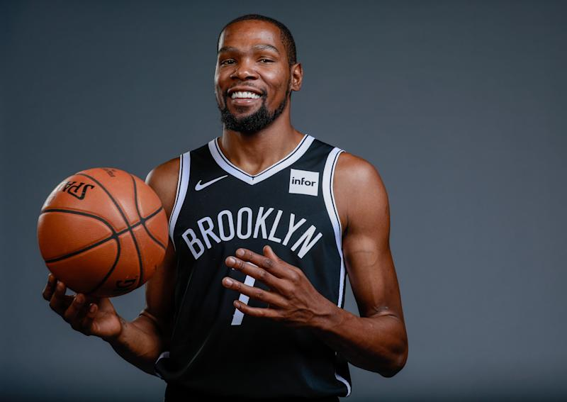 Sep 27, 2019; Brooklyn, NY, USA; Brooklyn Nets forward Kevin Durant (7) poses for a portrait during media day at HSS Training Center. Mandatory Credit: Nicole Sweet-USA TODAY Sports