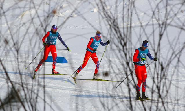 Cross-Country Skiing - Pyeongchang 2018 Winter Olympics - Men's 50km Mass Start Classic Training - Alpensia Cross-Country Skiing Centre - Pyeongchang, South Korea - February 23, 2018 - Athletes from team Slovakia train. REUTERS/Carlos Barria