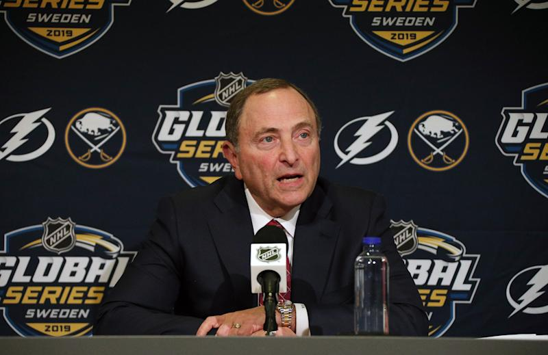 STOCKHOLM, SWEDEN - NOVEMBER 08: NHL Commissioner Gary Bettman speaks to the media prior to the Tampa Bay Lightning facing the Buffalo Sabres at the 2019 NHL Global Series Sweden, at the Ericsson on November 8, 2019 in Stockholm, Sweden. (Photo by Dave Sandford/NHLI via Getty Images)
