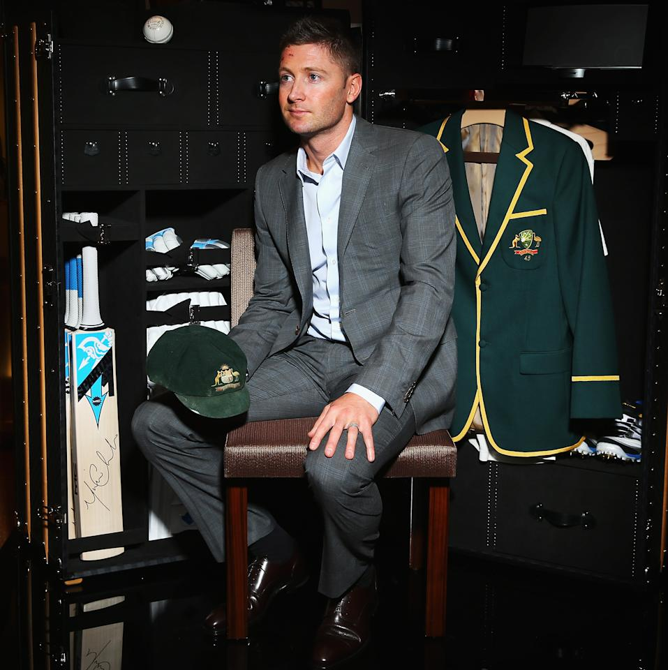SYDNEY, AUSTRALIA - OCTOBER 16:  Michael Clarke, Captain of the Australian Cricket Team, poses with a Louis Vuitton cricket trunk on October 16, 2012 in Sydney, Australia. Christie's auction house will manage a private sale of the trunk with all proceeds to benefit the Sydney Children's Hospital Foundation.  (Photo by Ryan Pierse/Getty Images)