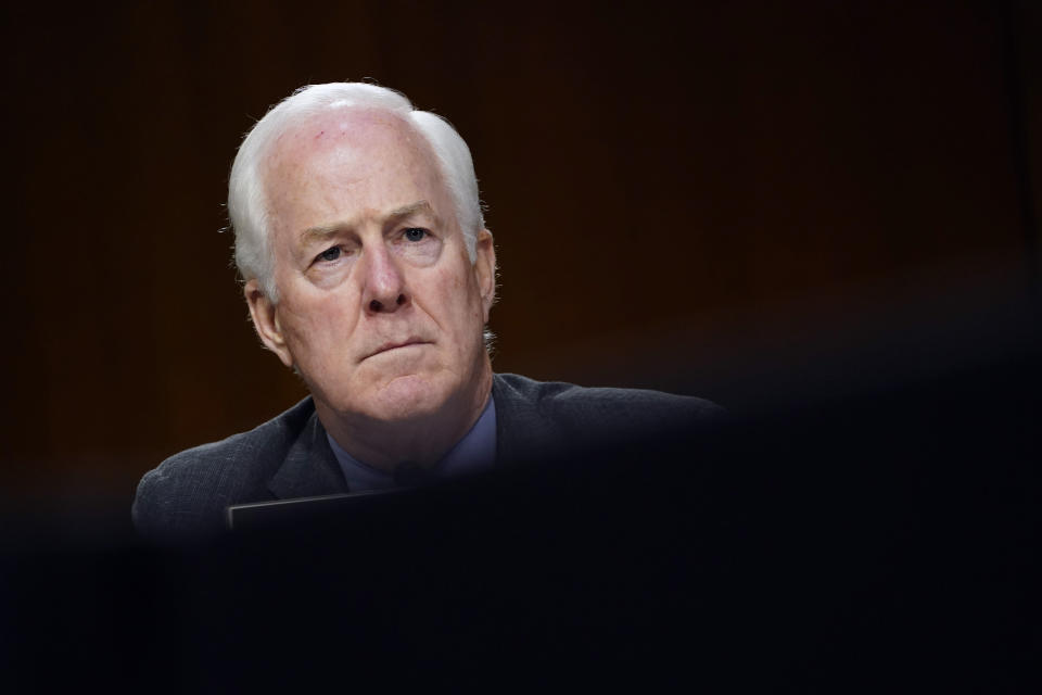 Sen. John Cornyn, R-Texas, listens during a Senate Judiciary Committee hearing on Capitol Hill in Washington, Tuesday, Nov. 10, 2020, on a probe of the FBI's Russia investigation. (AP Photo/Susan Walsh, Pool)