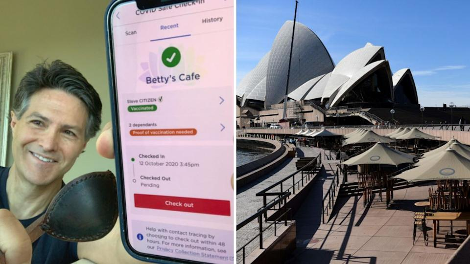 Victor Dominello takes selfie with Service NSW check in app and vaccine passport, deserted Sydney Opera house.