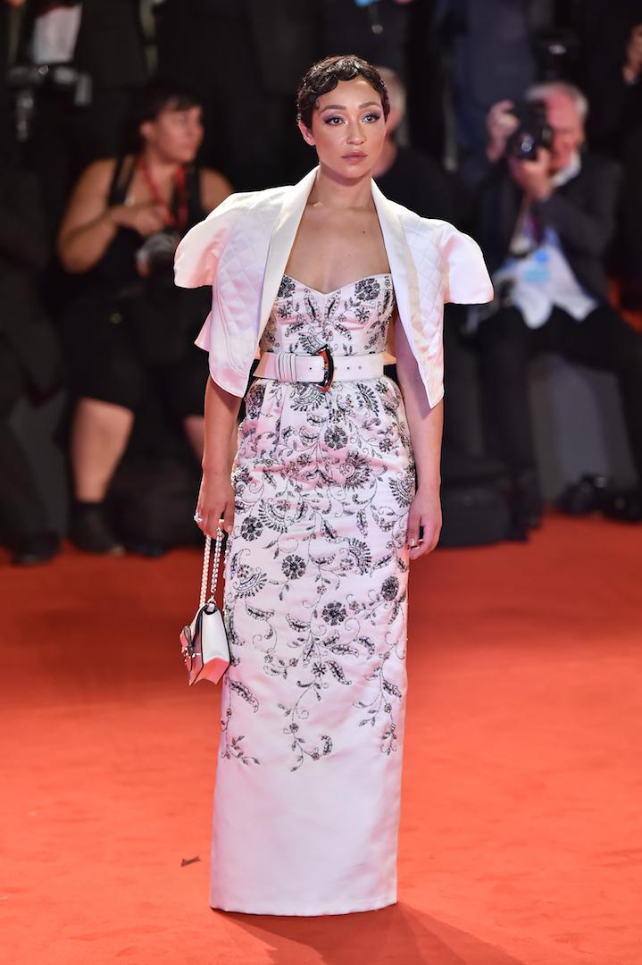 Another red carpet appearance, another Louis Vuitton look for Ruth Negga. The actress attended the premiere of 'Ad Astra' in a embroidered gown complete with a quilted jacket by the French label. <em>[Photo: Getty]</em>