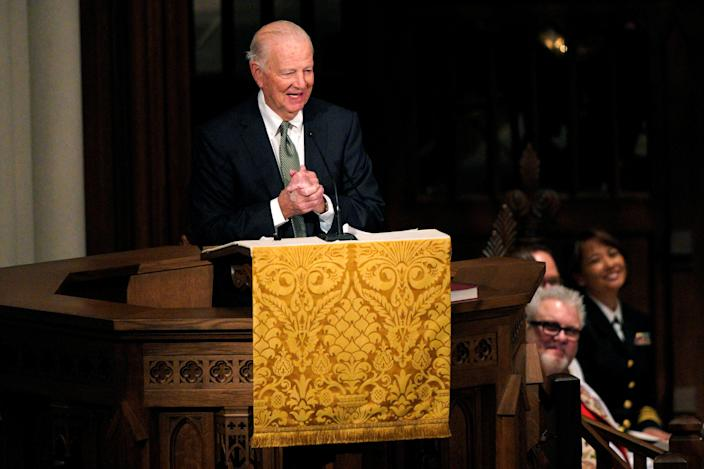 Former Secretary of State James Baker speaks during the funeral service for former President George H.W. Bush in Houston, Texas, Dec. 6, 2018. (Photo: Rick T. Wilking/Reuters)