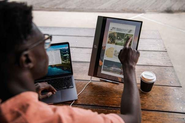 The espresso Display, the world's thinnest touchscreen external monitor, is easily portable, giving dad that all-important second screen even when on the road. Photo courtesy of espresso