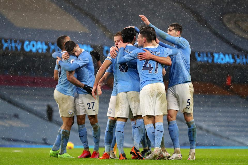 City celebrate after Ilkay Gundogan's penaltyGetty