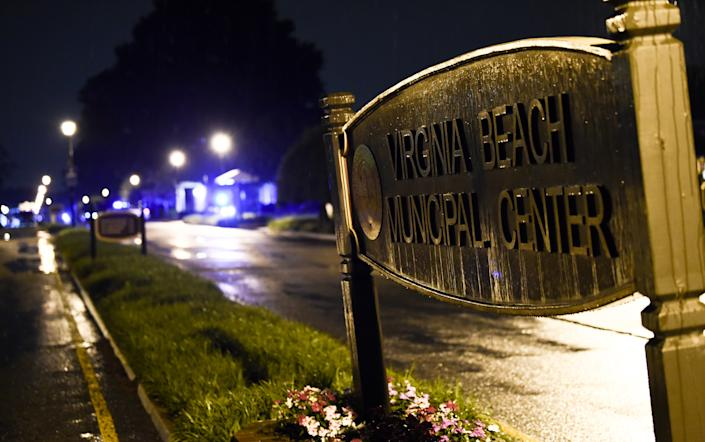 The Virginia Beach municipal center sign is seen in Virginia Beach, Virginia in the late hours of May 31, 2019. (ERIC BARADAT/AFP via Getty Images)