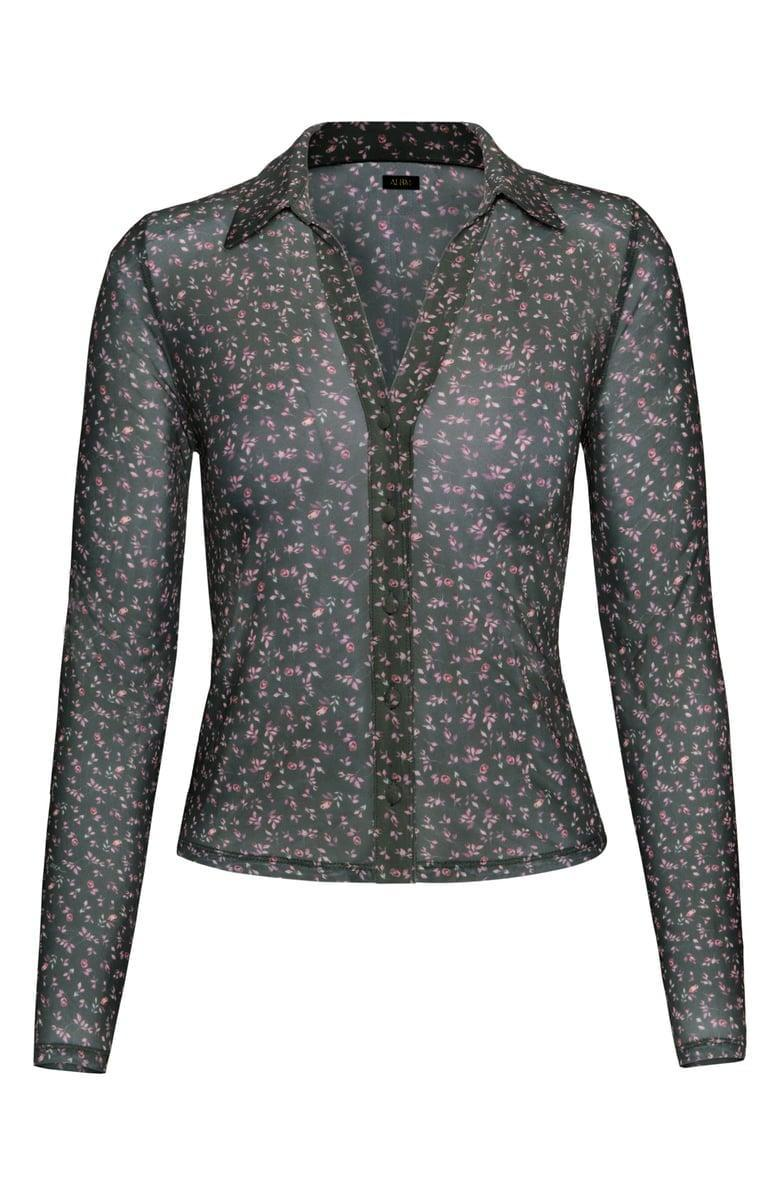 <p>This <span>AFRM Zayne Floral Button-Up Blouse</span> ($58) looks cool with a black bra or camisole layered underneath.</p>