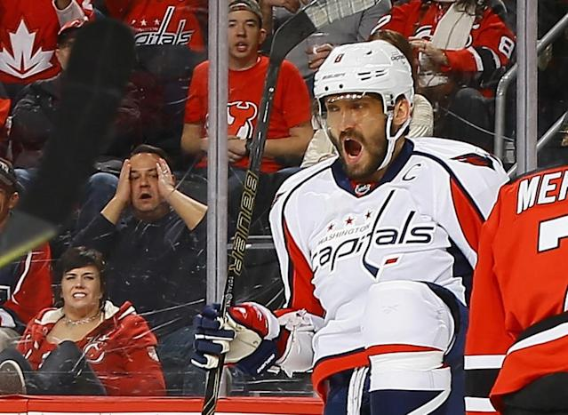 d727e56fa52  p Alex Ovechkin  8 of the Washington Capitals reacts after scoring a  second. Washington Capitals v New ...