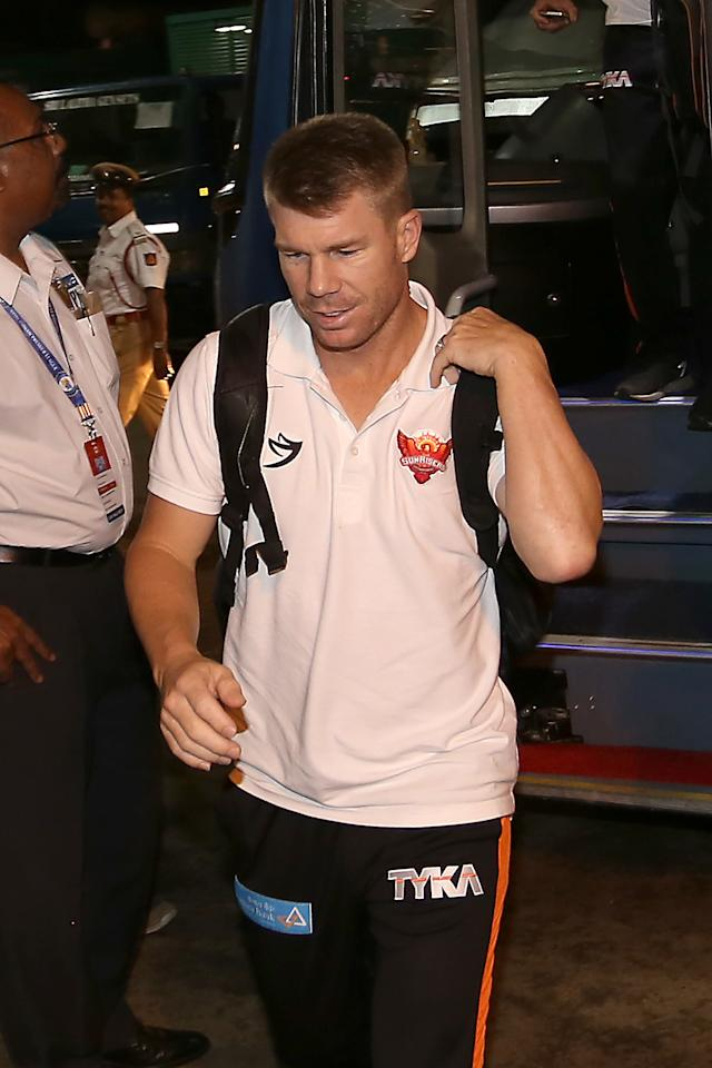 <p>Sunrisers Hyderabad captain David Warner arrives during match 29 of the Vivo 2017 Indian Premier League between the Royal Challengers Bangalore and the Sunrisers Hyderabad held at the M.Chinnaswamy Stadium in Bangalore, India on the 25th April 2017<br />Photo by Faheem Hussain – Sportzpics – IPL </p>