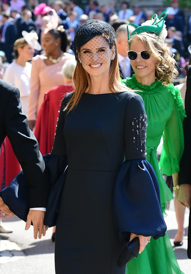 Actress Sarah Rafferty arrives at St George's Chapel at Windsor Castle before the wedding of Prince Harry to Meghan Markle on May 19, 2018 in Windsor, England.