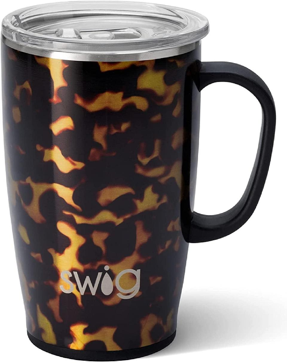<p>The <span>Swig Life Travel Mug with Handle and Lid</span> ($35) is a stainless steel mug that is cup holder friendly and triple insulated. It comes in a variety of colors and patterns.</p>