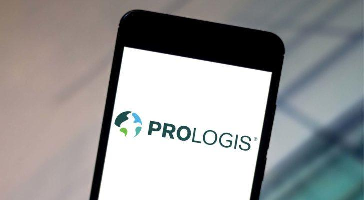 The Prologis (PLD) logo displayed on a smartphone screen.