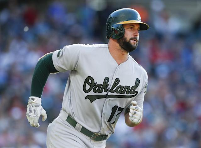 Oakland's Yonder Alonso spent the offseason working on his swing and the results are apparent. (Getty Images)