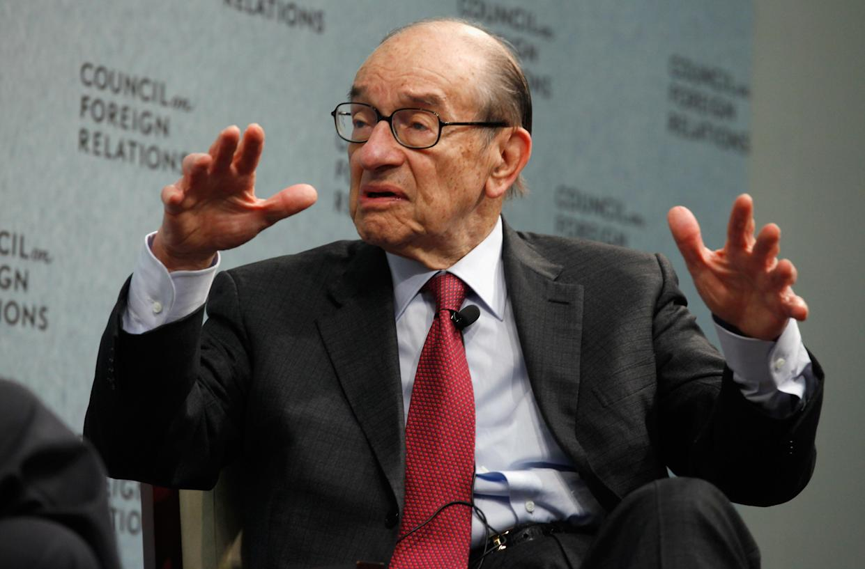 """Former Federal Reserve Bank Chairman Alan Greenspan talks about his recent publication, """"Activism,"""" at the Council of Foreign Relations on March 15, 2011 in Washington, DC. (Photo by Chip Somodevilla/Getty Images)"""
